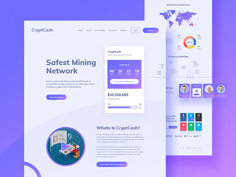 CryptCash Gradient Version color ful gradient ux ui mining landing interface ico design crypto chart bitcoin
