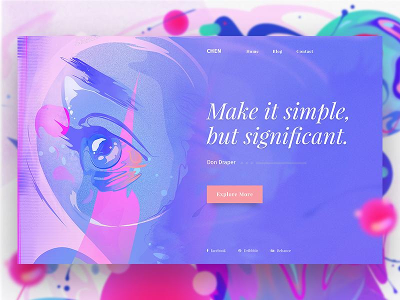 Minimal Design Concept #1 illustration gradient colorful. web design dribbble minimal design slider header ui ux