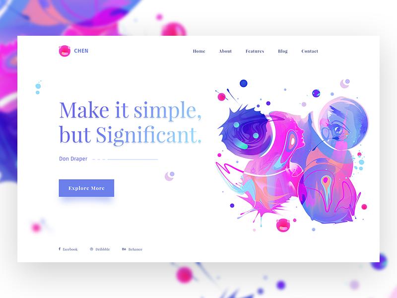 Minimal Design Concept #3 ui ux header slider minimal design dribbble colorful. web design gradient illustration