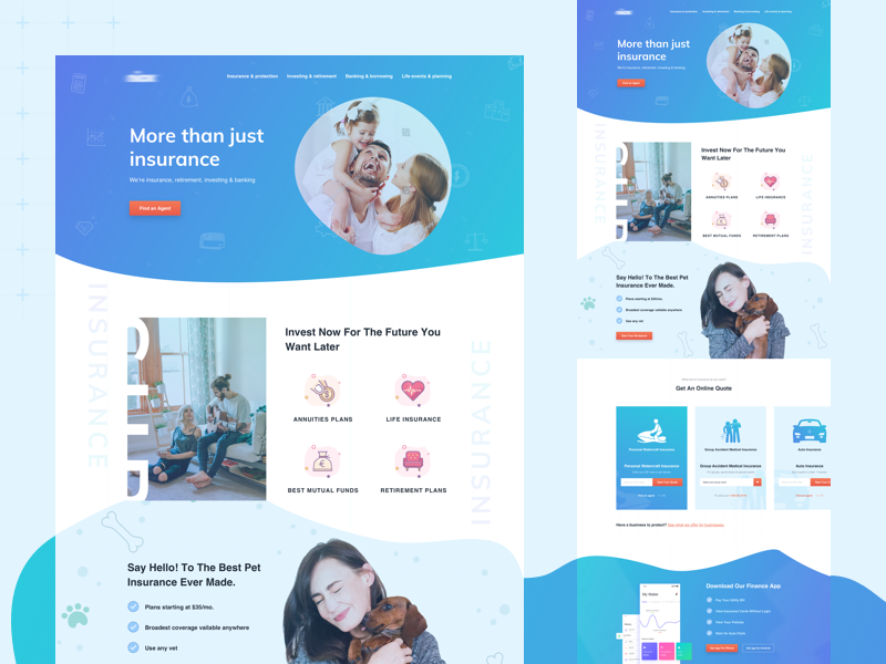 Insurance website design concept by Arpon Das for Maayo ...