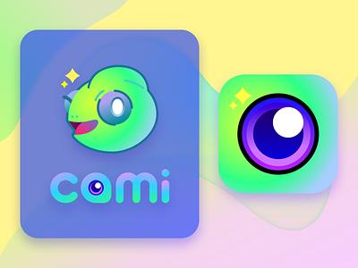 cami app chameleon camera app logo mascot app icon app