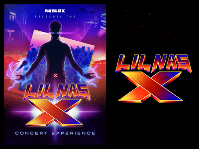 Roblox x Lil Nas X // logo + branding metaverse virtual concert super hero promo poster logo design robloxpresentslnx branding lnx roblox lil nas x