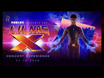 Roblox x Lil Nas X // alt event poster concert poster metaverse virtual concert robloxpresentslnx lnx lil nas x roblox