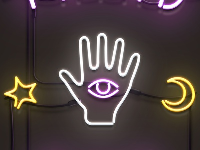 psychic neon sign fortune telling occult photoshop psychic neon sign
