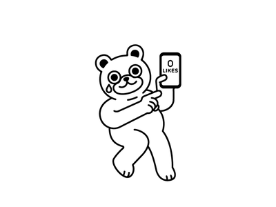 zero likes cute bear sticker social media likes