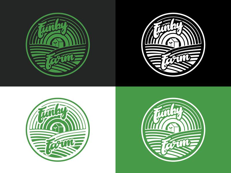 Funky Farm record label logo corporate branding record label house music script font typography logo