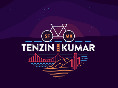 Tenzin & Kumar ride illustration tshirt bicycle