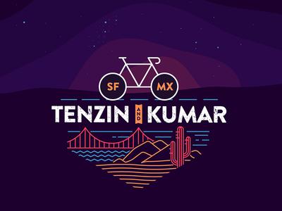 Tenzin & Kumar ride illustration tshirt bicycle