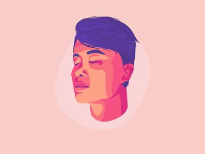 Tenzin Meditates funsies meditation vector illustration portrait