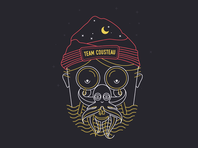 Cousteau Octo Man face line illustration vector octoman octopus illustration tshirt