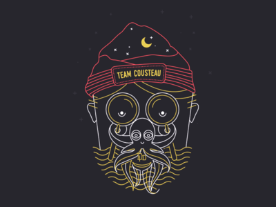 Cousteau Octo Man face line illustration vector octoman octopus illustration tshirt