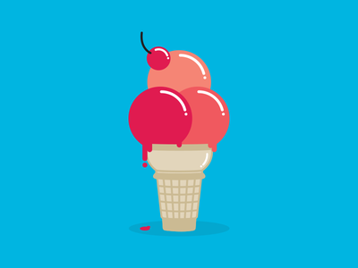 With a cherry on top vector drip illustration icon ice cream