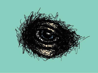 Evil in his Eyes evil eyeball pen sketch drawing eye