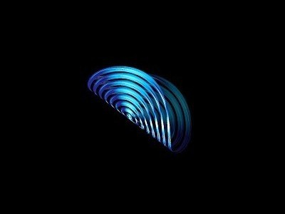 Radio Wave fold 3d radio wave sound logo blue gradient unused