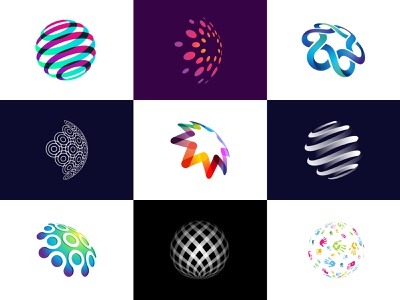 Vol 2 : Collection Of Spherical Logos finance perspective spherical sphere global globe ui almosh82 app icon logodesign transparency branding colorful gradient 3d logo