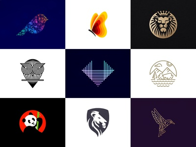 Vol 4 : Collection of Bird and Animal Logos logocollection bison data fox shield majestic butterfly panda owl lion animal ui app icon logodesign branding colorful gradient 3d logo