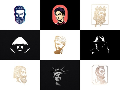 Vol 5 : Collection Of Portrait Logos app logocollection lincoln identity character portrait face icon ux almosh82 design logodesign branding illustration logo