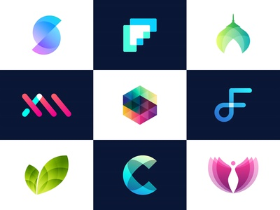 Vol 6 : Collection Of Minimal Logos With Transparency logocollection identity ui app icon logodesign transparency colorful branding illustration gradient 3d logo
