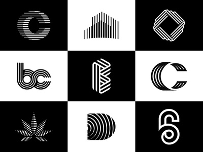 Vol 7 : Collection Of Multiple Line Logos logocollection alphabets leaf cannabis c identity graphicdesigner six minimal lines ux icon typography design app logodesign branding illustration 3d logo