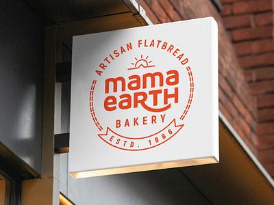 Mama Earth Bakery : Logo Redesign redesign logodesigner logodeisgn tonir sun label emblem circular flatbread artisan organic bakery design logodesign branding illustration logo