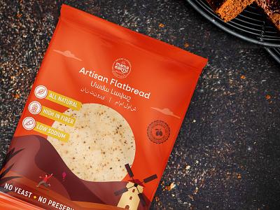 Artisan Flatbread Package Design illustration print mediterranean healthy child labeldesign packagingdesign packaging organic lavash flatbread artisanflatbread food package label logo
