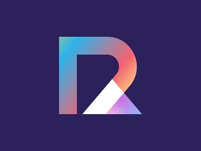 R Logo triangle success finance rlogo geometric fold symbol icon vector ui design colorful logodesign branding illustration gradient 3d logo