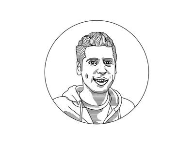 Sam Altman Portrait Illustration spectaclemag digitalart closeup quarterly magazine editorial illustration lineart vector face portrait