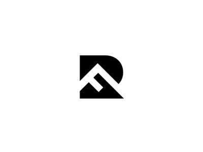 R + F + Mountain negative space mark logo mountian alphabet f r