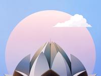 Lotus Temple Illustration