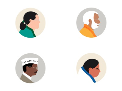 Indian Political Figures character face party modi politicians editorial illustration politics minimal portrait vector illustration