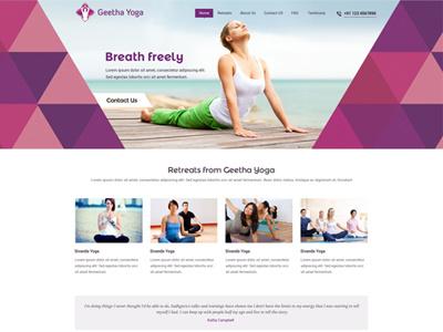 Webdesign for Geetha Yoga yoga geetha yoga web design clean simple minimal flat flat ui flat design website design