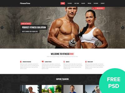 Fitnesstime Landing Page - FREE PSD free psd free landing page free design landing page psd fitness psd free fitness psd free fitness landing page design