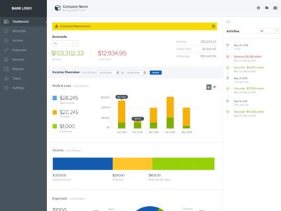 Dashboard Design dashboard bank app web app clean minimal savings assets liabilities