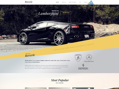 Reverie Homepage Design car rental car on rent rental design web design clean modern simple exotic cars on rent exotic cars dream car