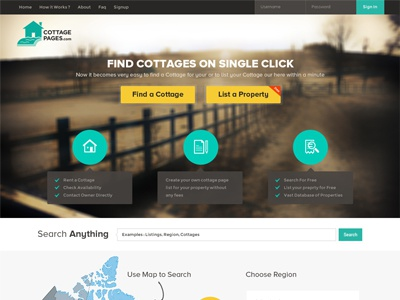 CottagePages.com website design cottage cottage pages pages search cottage cottage listing webdesign website design homepage design layout design modern flat minimal