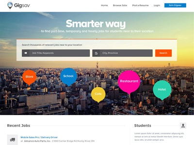Website design for Job Portal job portal job part time jobs smart jobs pay clean simple