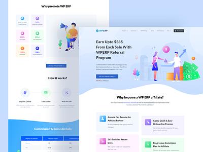 WP ERP Affiliate Page Design landing page illustration ux ui commission profit affiliate wordpress earning wp erp illustraion