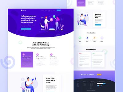 Affiliate page design for weMail email marketing branding design wp illustration ux ui wordpress website landing page partner commission affiliate