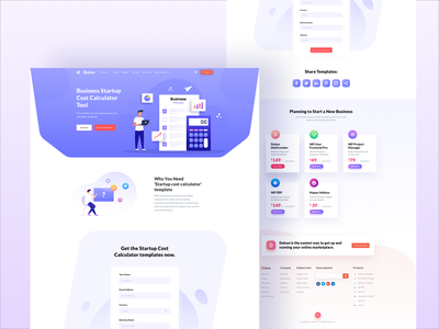 Business Startup Cost Calculator Page Design costume tool template startup plan business calculator website landing page illustration ui ux