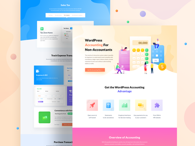 Accounting Landing page Design landing page website erp open source plugin wordpress accounting illustration ux ui