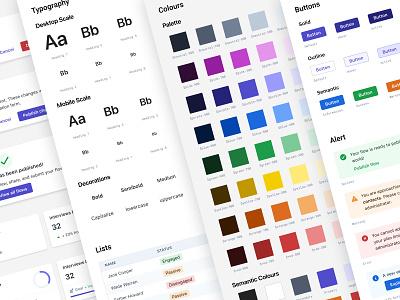 Design System cta lists cards metrics b2b enterprise modals alterts semantic components buttons color palette colors typography design system design