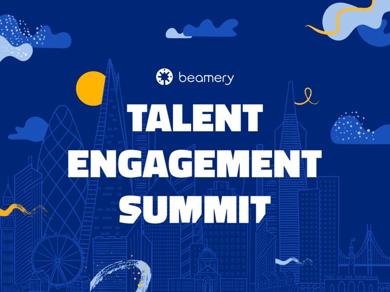 Beamery Talent Engagement Summit san francisco austin london cityscape event branding virtual conference digital summit talent acquisition talent engagement beamery skyline illustration