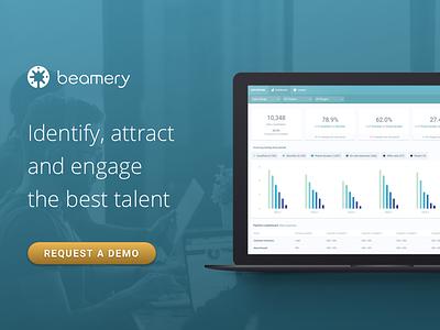 Beamery app demo ad linkedin request demo banner ad ui software marketing b2b recruiting crm recruitment beamery