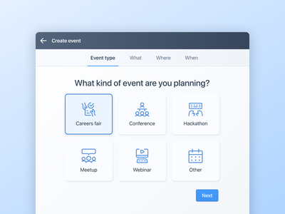 Event creation flow - Select event type step by step flow creation webinar meetup hackathon conference careers type events event select ui software b2b recruiting crm recruitment beamery