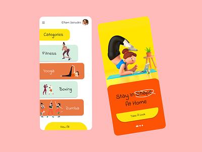 ONLINE GYM sport online gym gym illustration ui mobile design app