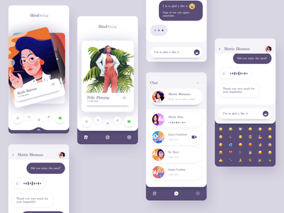 BlindDating . branding design ux flinto website template logo illustration mobile app sketch ui