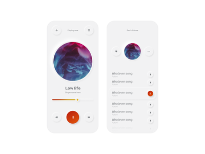 Simple Music Player(Light) ui ux neumorphism mobile music minimal digital gradient app design app