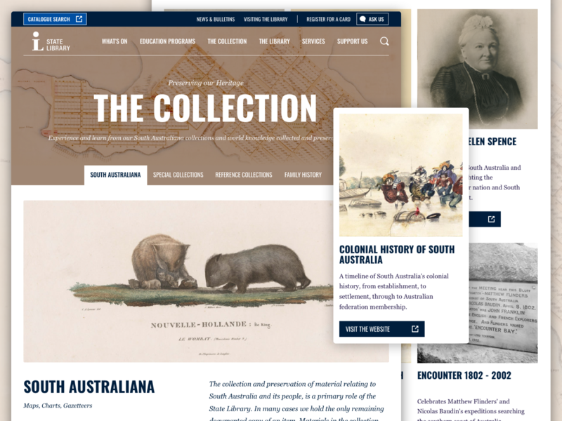 State Library of South Australia: Collections typography ui web design