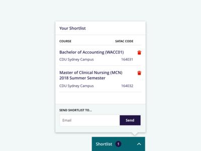 Charles Darwin University: Shortlist Popover UI