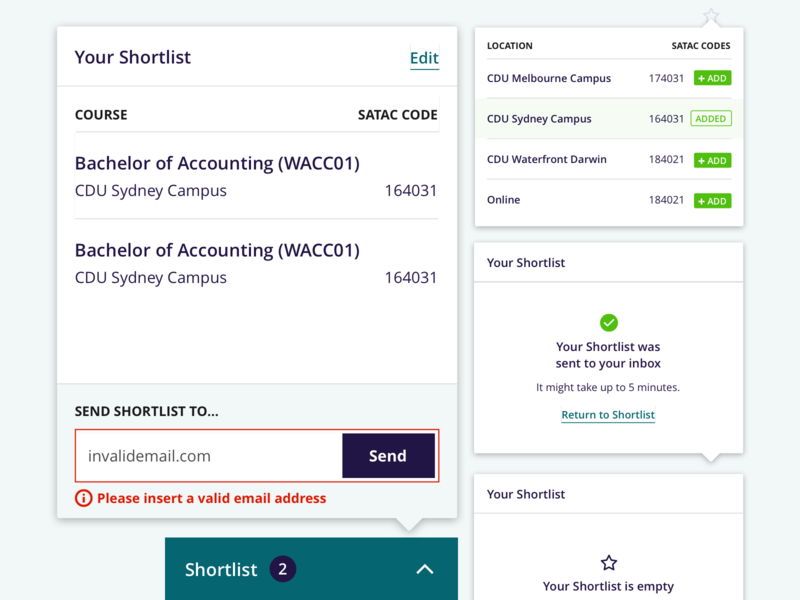 Charles Darwin University: Shortlist Popover States state popover card cart